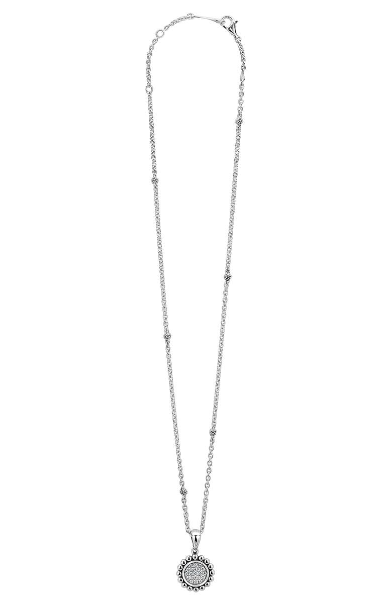 LAGOS Caviar Spark Diamond Pavé Circle Pendant Necklace, Main, color, SILVER
