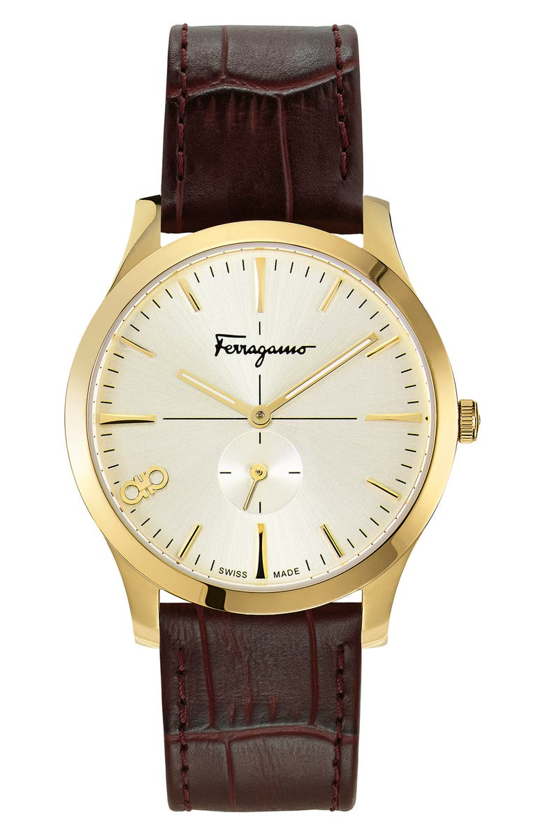SALVATORE FERRAGAMO Slim Leather Strap Watch, 40mm, Main, color, BROWN/ GOLD