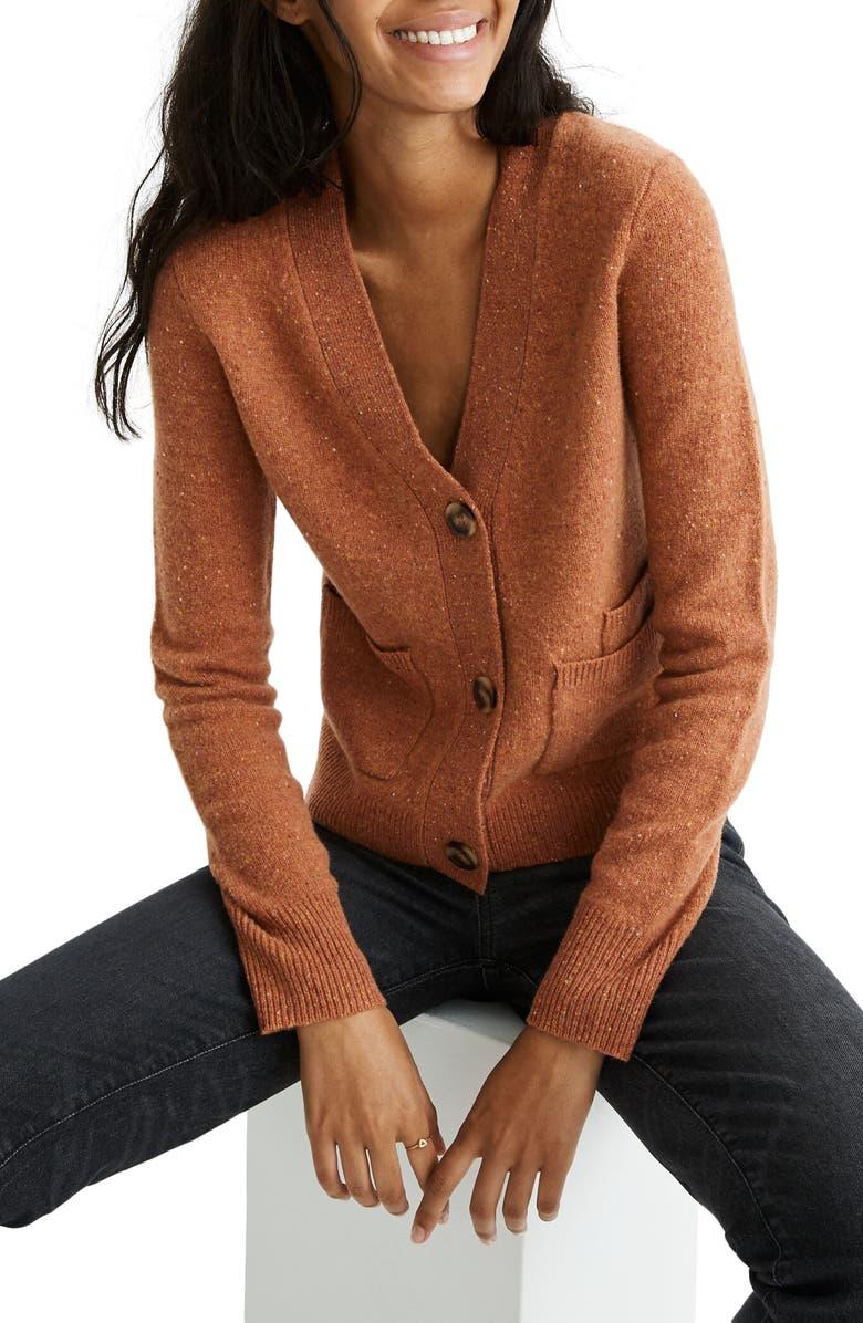 MADEWELL Shrunken Cardigan Sweater, Main, color, BROWN