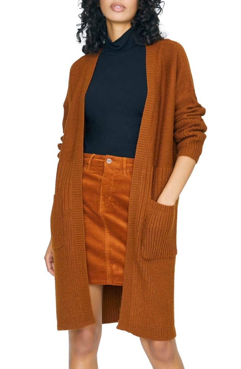 SANCTUARY Cozy On Up Long Cardigan, Main, color, EARTH STONE