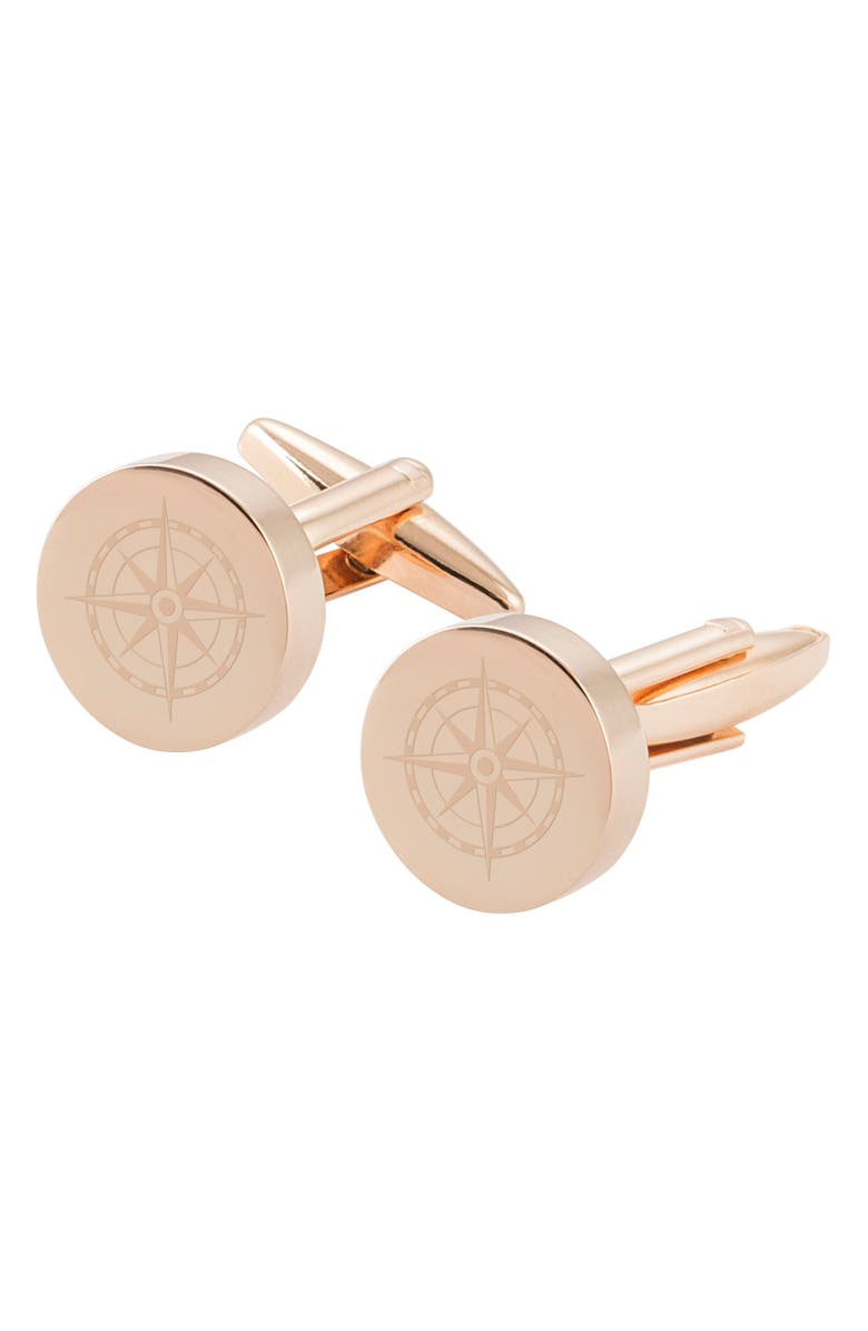 CATHY'S CONCEPTS Compass Cuff Links, Main, color, ROSE GOLD