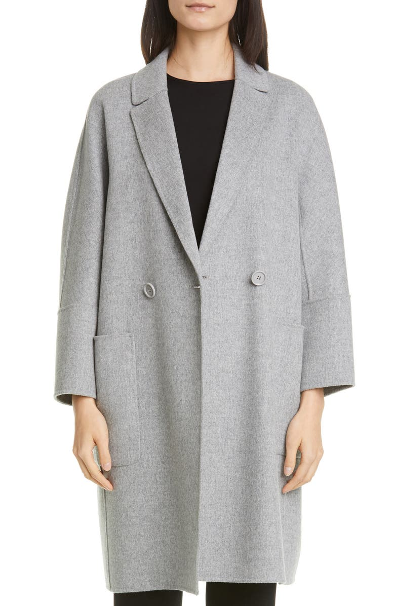 MAX MARA Audrey Double Breasted Coat, Main, color, LIGHT GREY