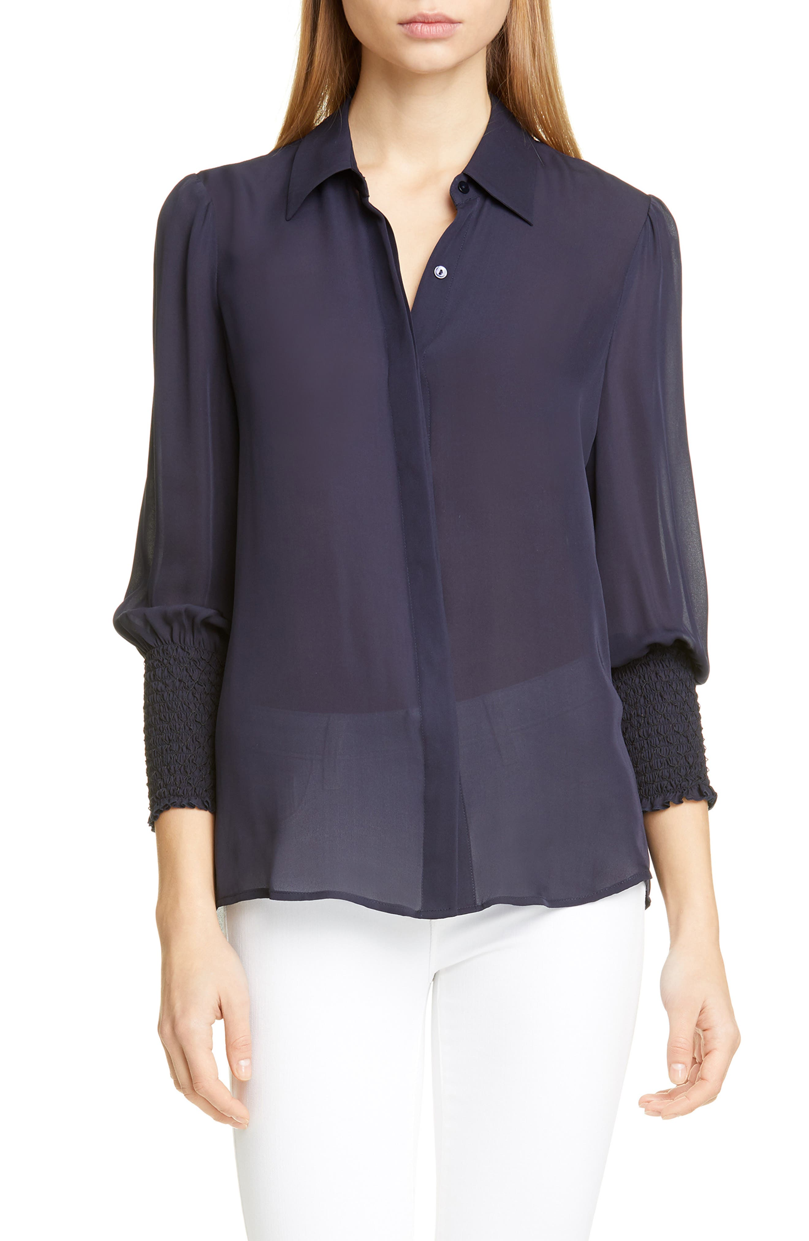 Image of L'AGENCE Lucin Smocked Cuff Silk Blouse