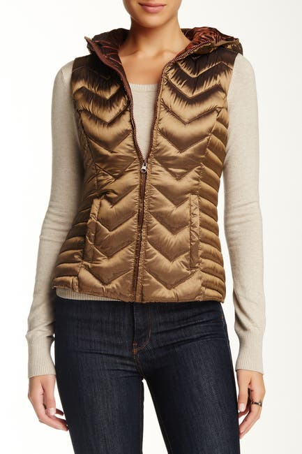 Image of BNCI by Blanc Noir Chevron Quilted Hooded Down Vest