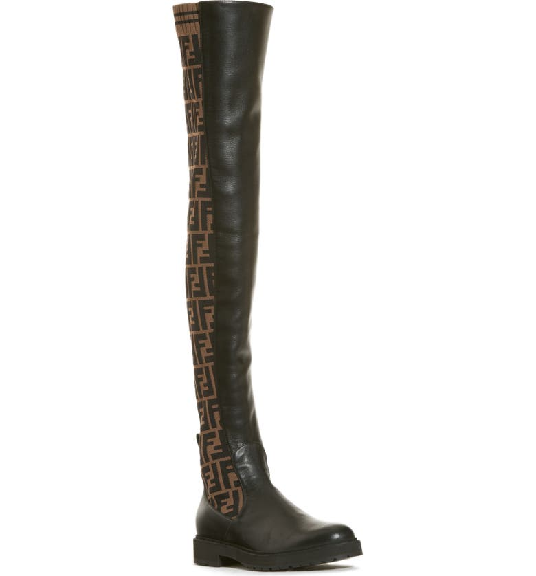 FENDI Rockoko Over the Knee Boot, Main, color, BROWN