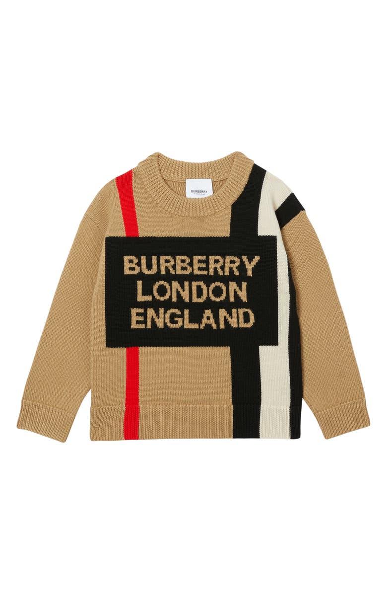 BURBERRY Rolfe Wool Stripe, Main, color, ARCHIVE BEIGE