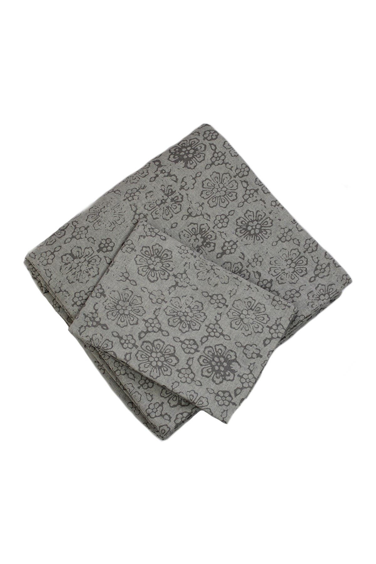 Image of Belle Epoque Print Grey Dk Grey Top Heather Flannel Duvet Set - Queen