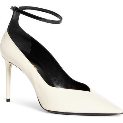 Saint Laurent Zoe Ankle Strap Pointed Toe Pump - White