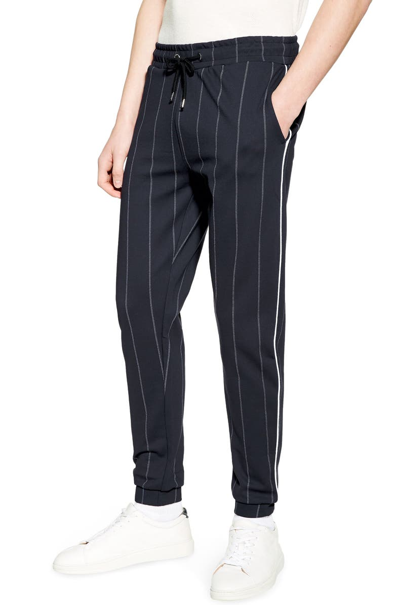 TOPMAN Skinny Fit Pinstripe Jogger Pants, Main, color, NAVY BLUE MULTI
