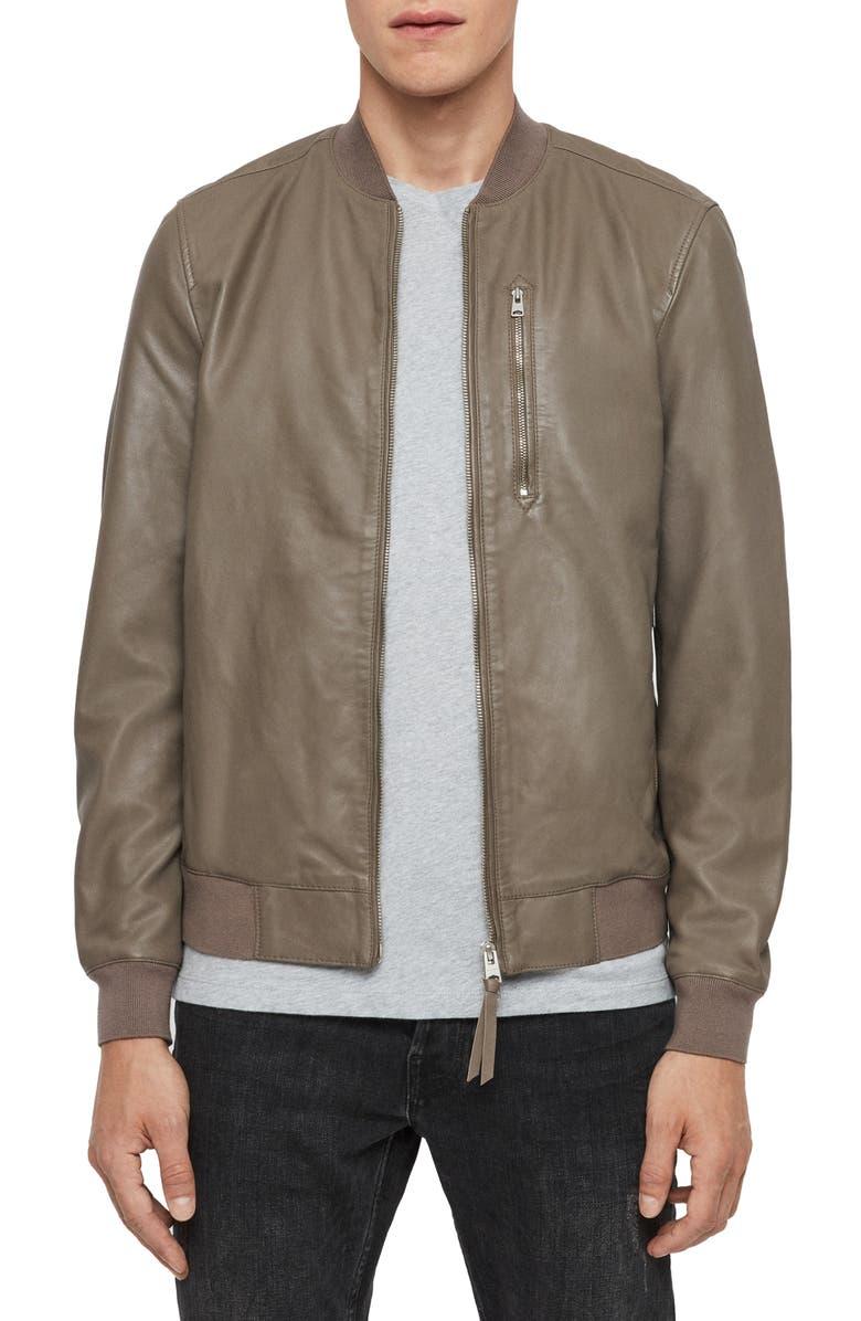 ALLSAINTS Kino Leather Bomber Jacket, Main, color, WARM GREY