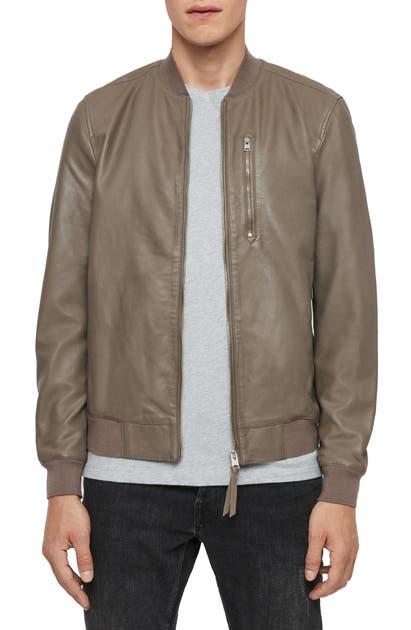 Allsaints Kino Leather Regular Fit Bomber Jacket In Warm Grey