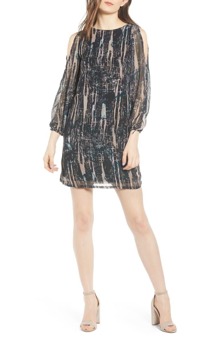 SENTIMENTAL NY Cold Shoulder Shift Dress, Main, color, BLACK SPLATTER
