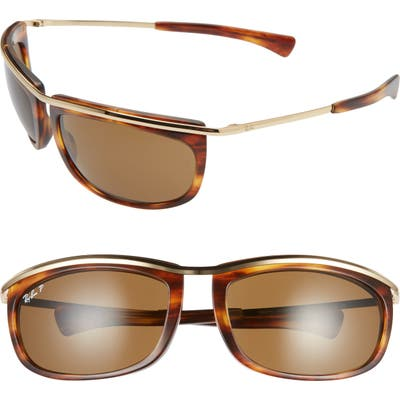 Ray-Ban 62Mm Polarized Oversize Wrap Sunglasses - Gold Havana/ Polar Brown