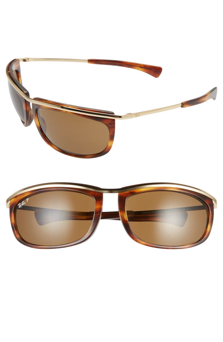RAY-BAN 62mm Polarized Oversize Wrap Sunglasses, Main, color, GOLD HAVANA/ POLAR BROWN