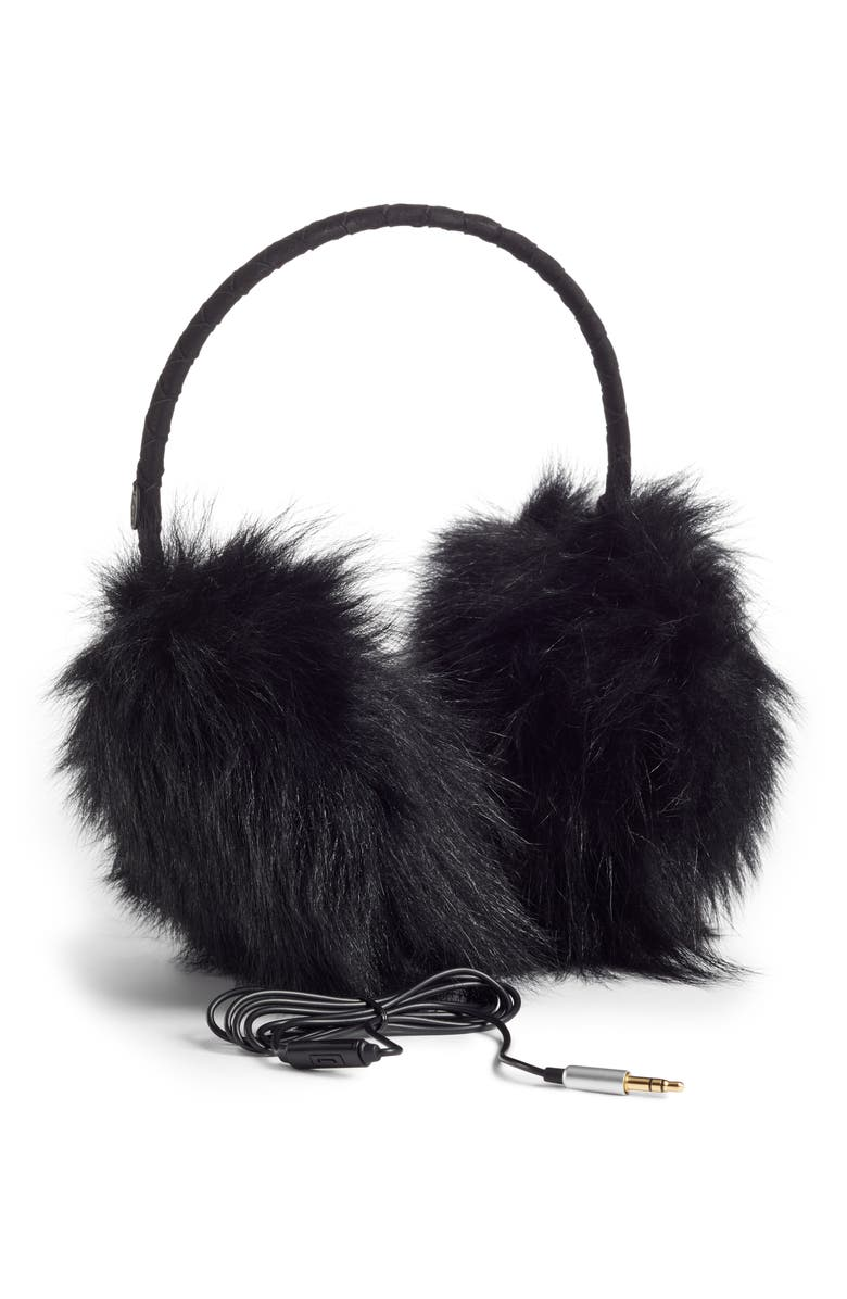 UGG<SUP>®</SUP> Genuine Long Pile Shearling Tech Earmuffs, Main, color, 001
