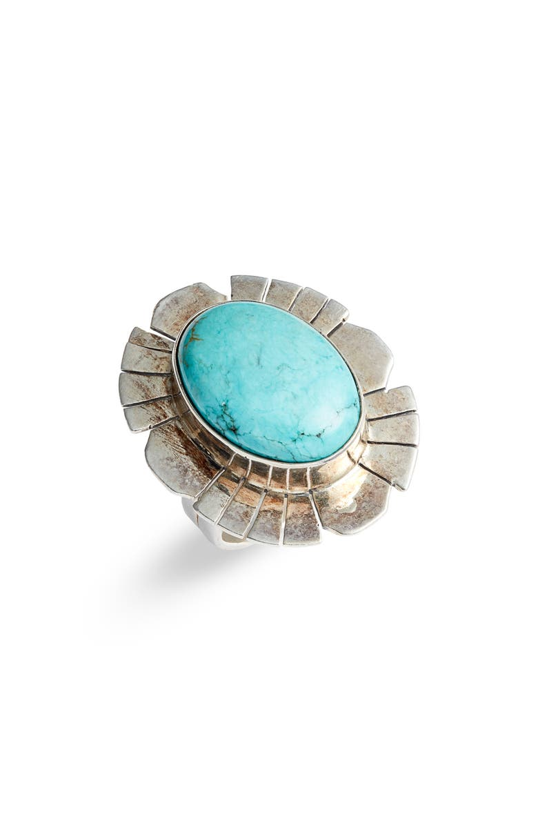 SET & STONES Mara Statement Ring, Main, color, SILVER/ TURQUOISE