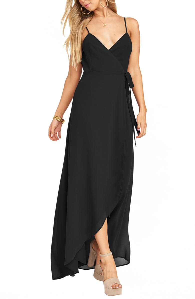 SHOW ME YOUR MUMU Mariah Wrap Maxi Dress, Main, color, BLACK CHIFFON