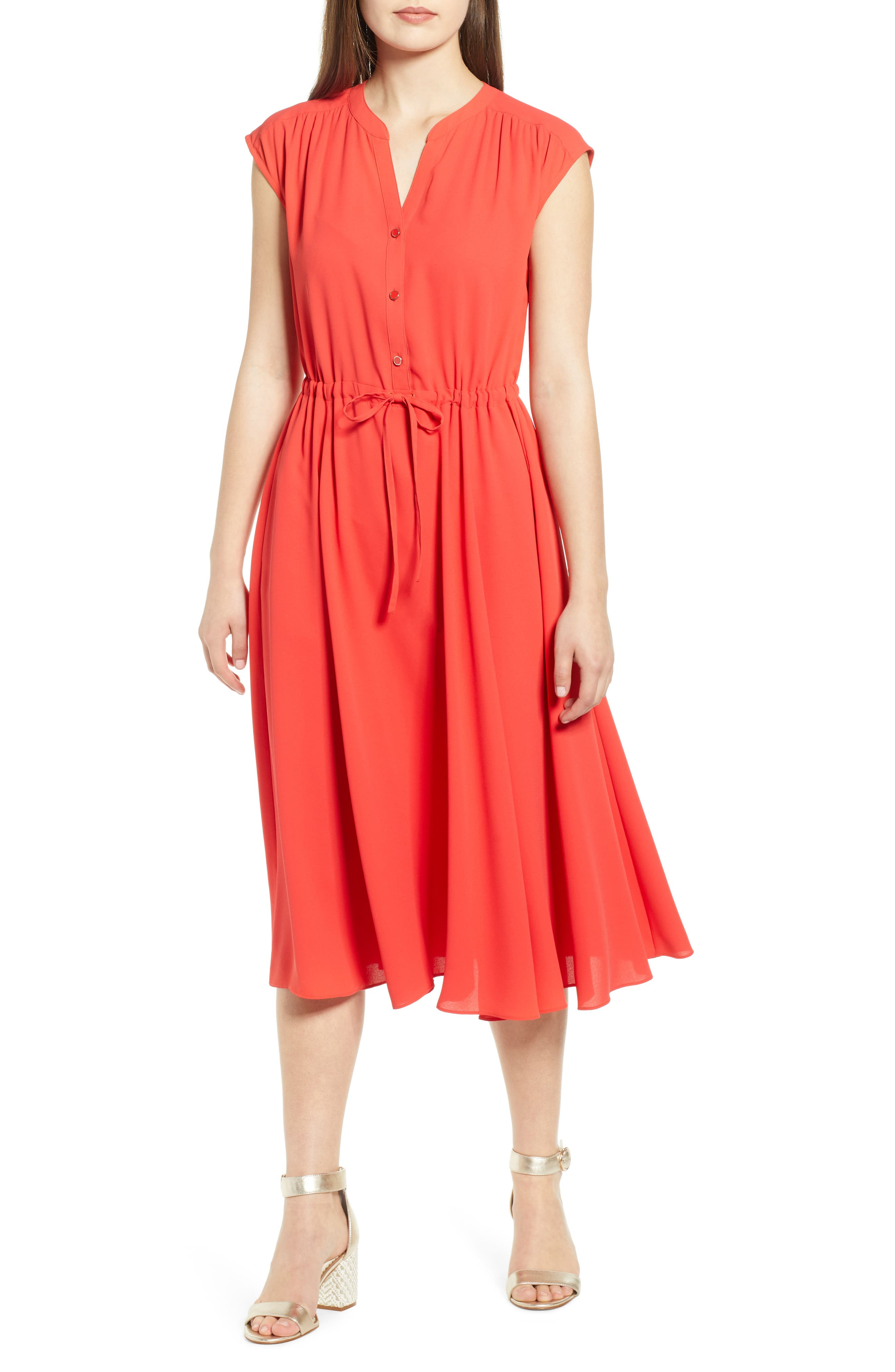 Anne Klein Split Neck Drawstring Midi Dress, Red