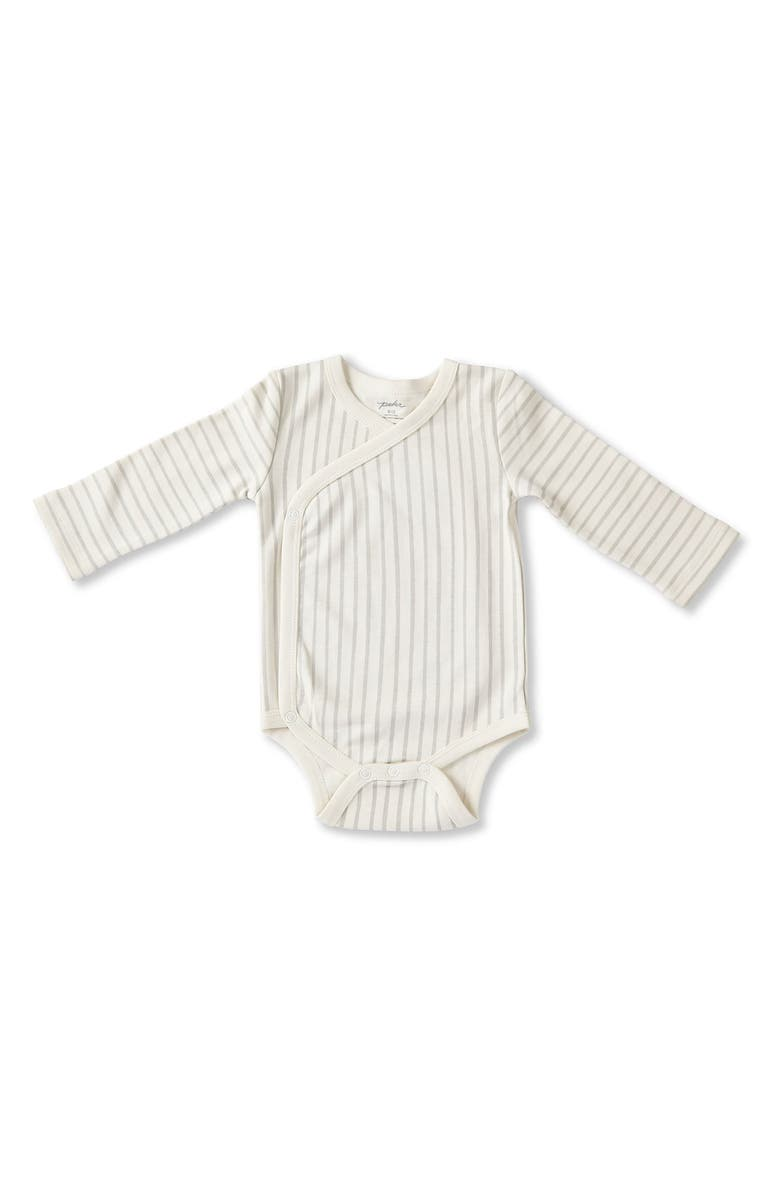 PEHR Stripes Away Surplice Bodysuit, Main, color, PEBBLE