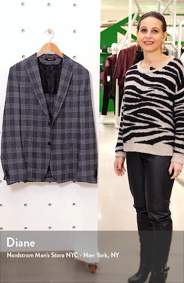 Trim Fit Plaid Wool & Linen Sport Coat, sales video thumbnail