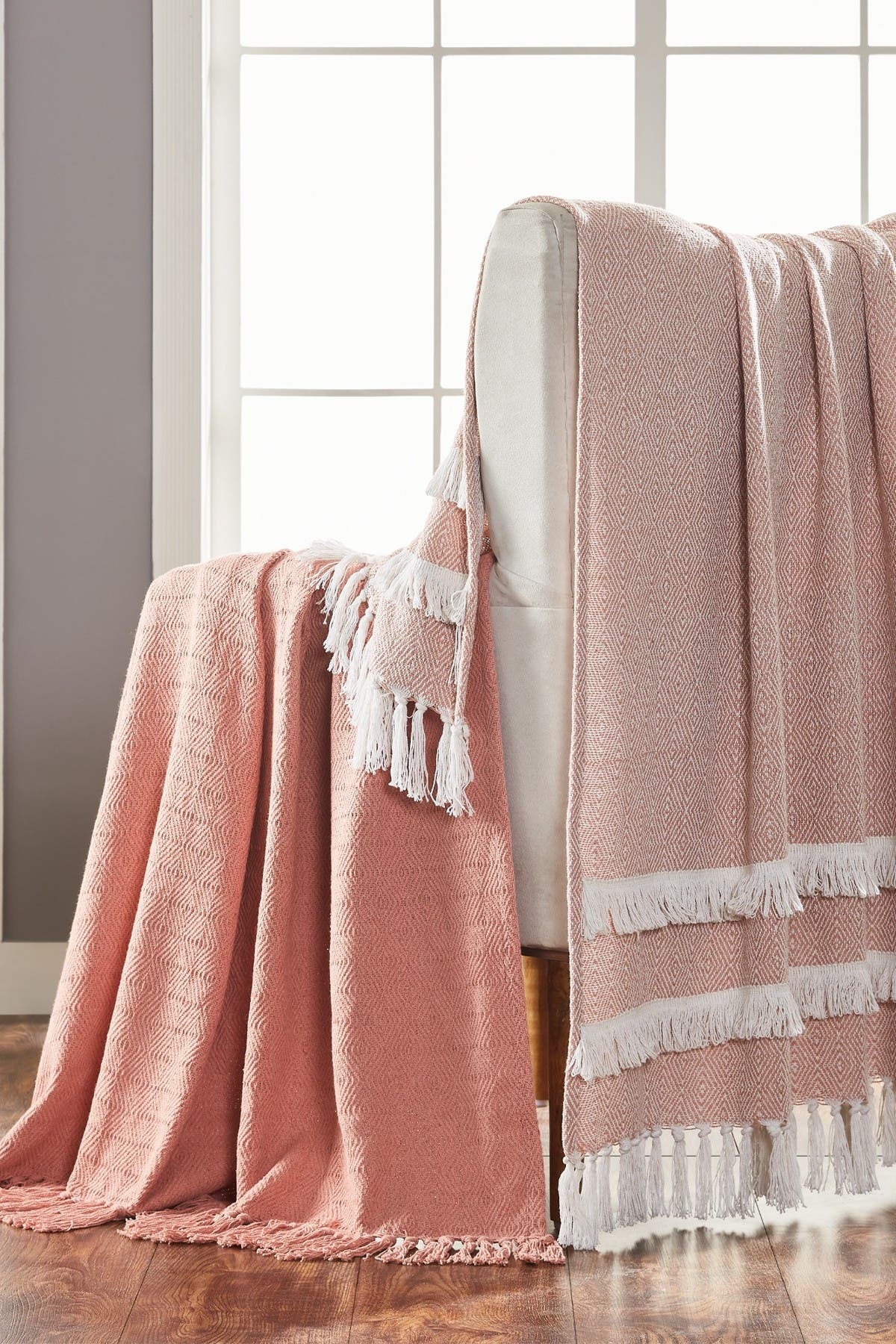 "Image of Modern Threads 2-Pack 50"" x 60"" Throw Blanket - Coral Creme"