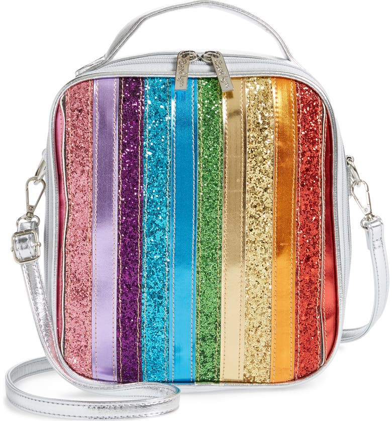BARI LYNN Glitter Rainbow Stripe Lunchbox, Main, color, 650