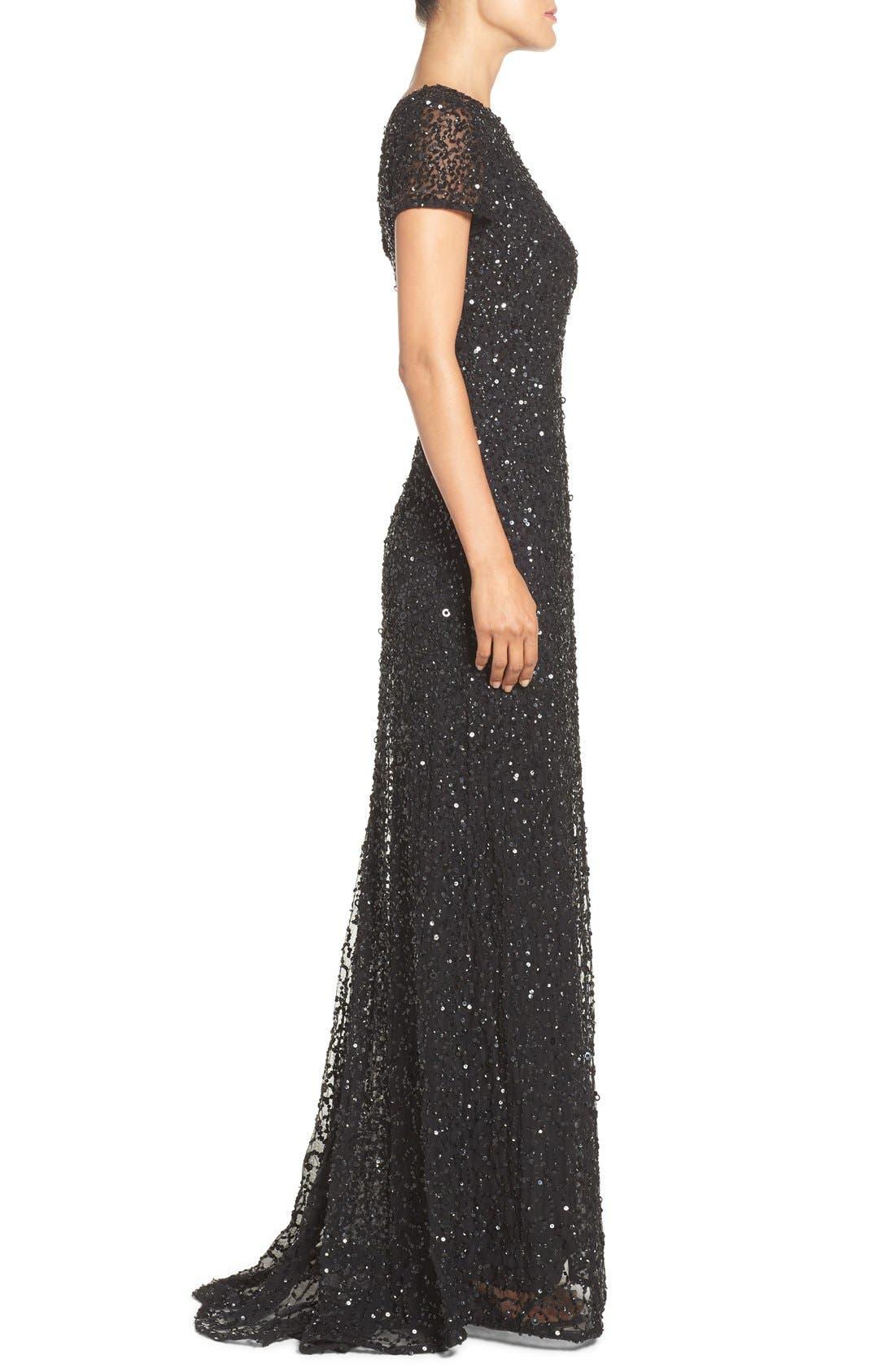 ,                             Short Sleeve Sequin Mesh Gown,                             Alternate thumbnail 6, color,                             002