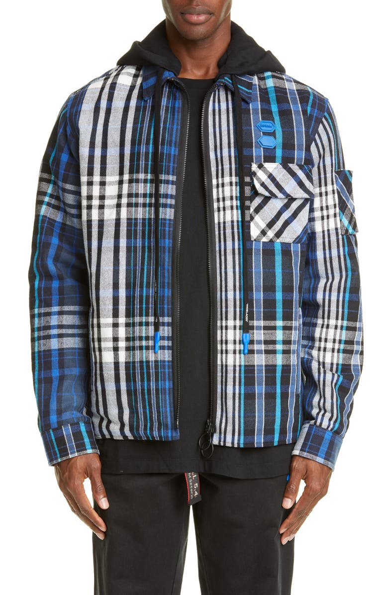 OFF-WHITE Relaxed Fit Padded Flannel Shirt, Main, color, BLUE BLACK