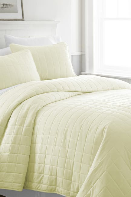 Image of IENJOY HOME Home Spun Premium Ultra Soft Square Pattern Quilted Queen Coverlet Set - Yellow