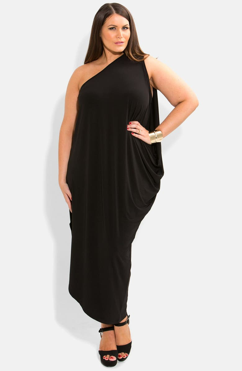 One-Shoulder Draped Jersey Maxi Dress