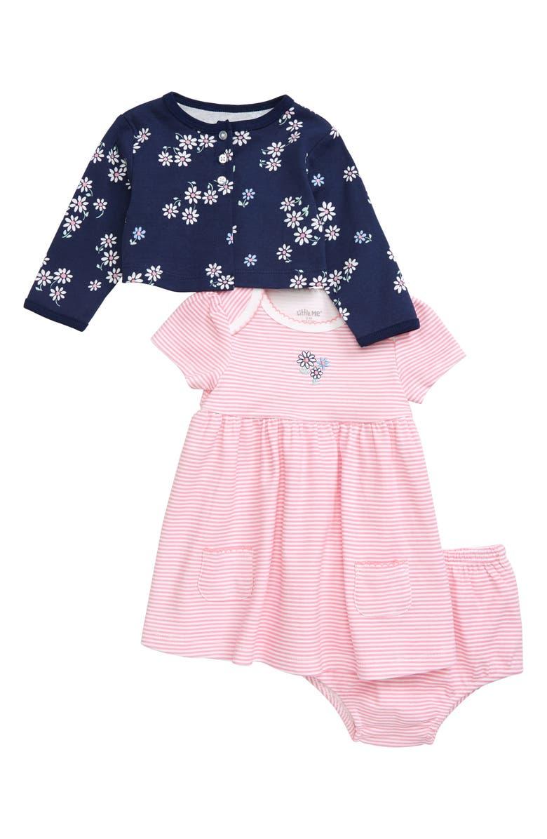 LITTLE ME Daisy Stripe Cardigan, Dress & Bloomer Set, Main, color, 650