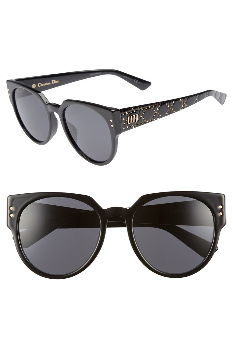 DIOR Lady Dior 54mm Special Fit Polarized Cat Eye Sunglasses, Main, color, 001