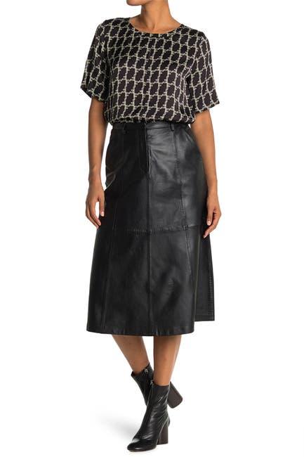 Image of SEVENTY VENEZIA Leather Midi Skirt