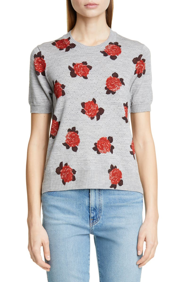 TRICOT COMME DES GARÇONS Rose Print Short Sleeve Sweater, Main, color, 020