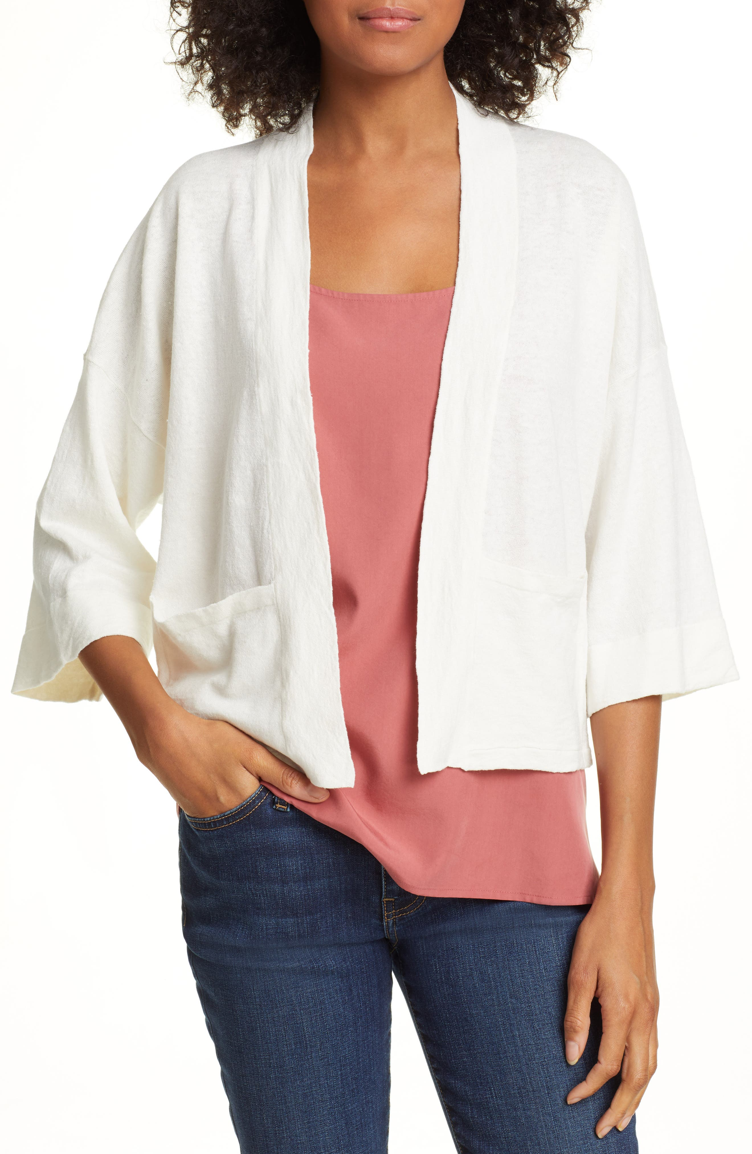 women's eileen fisher short boxy linen blend cardigan, size large/x-large - ivory