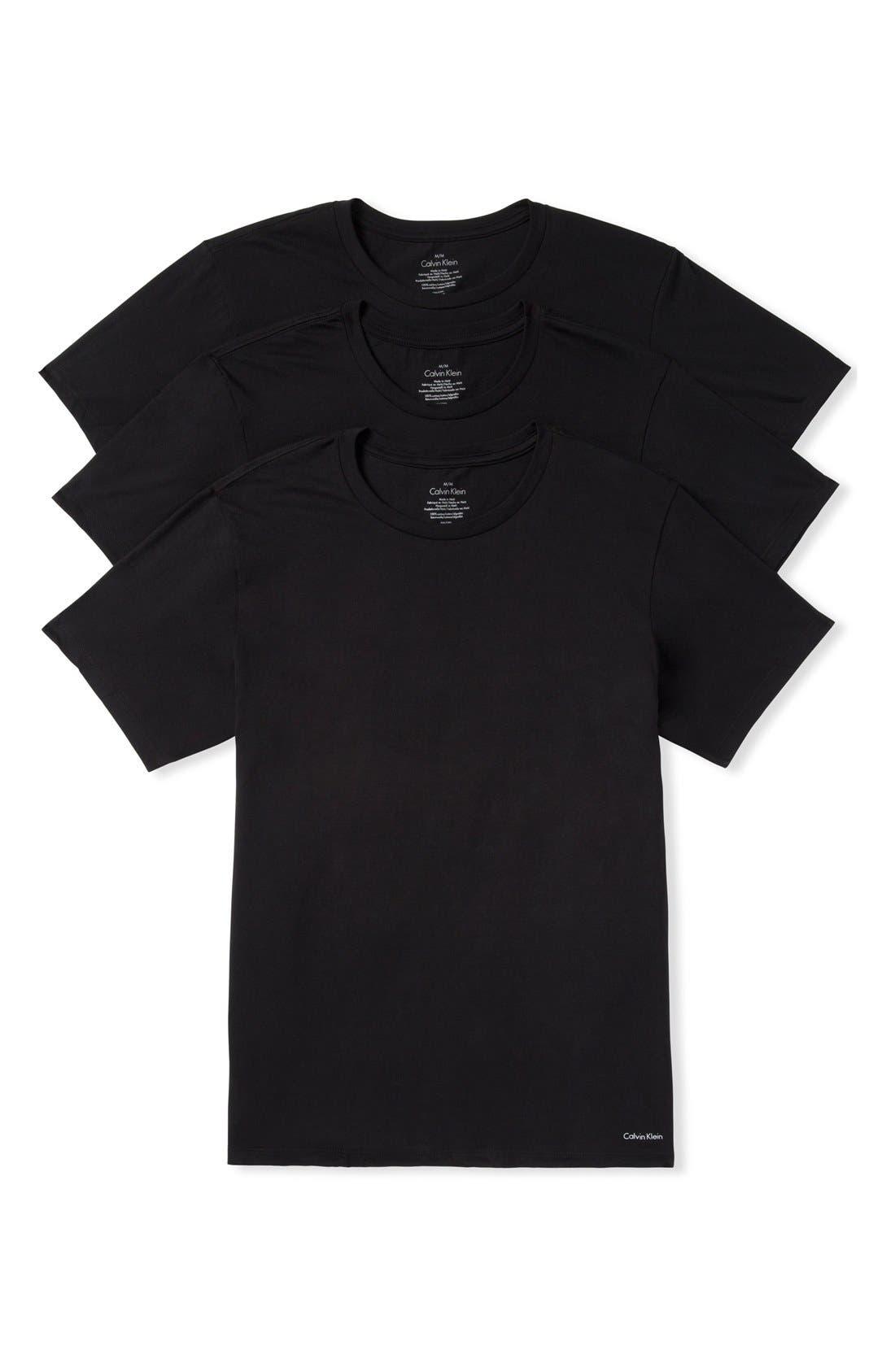 ,                             3-Pack Cotton T-Shirt,                             Main thumbnail 1, color,                             BLACK