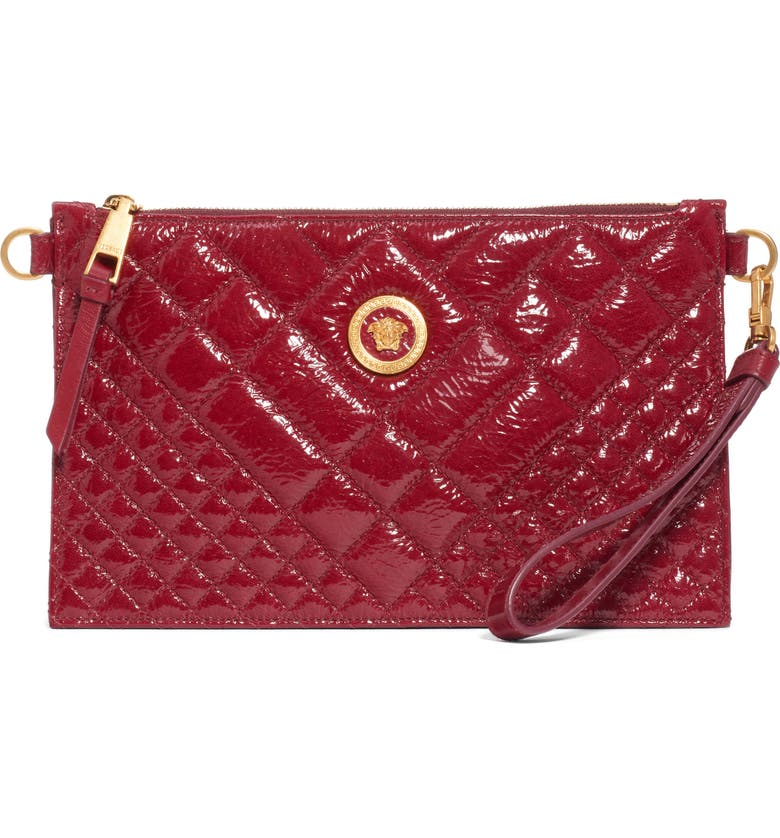 VERSACE FIRST LINE Versace Tribute Patent Leather Crossbody Pouch, Main, color, KSROT SUNSET RED/ TRIBUTE GOLD