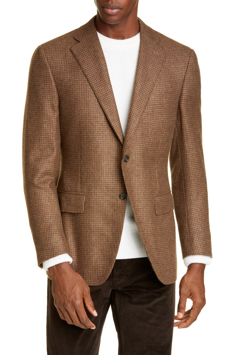 CANALI Sienna Soft Houndstooth Cashmere Sport Coat, Main, color, BROWN