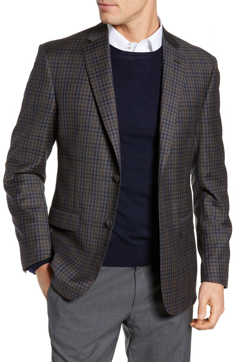 JB BRITCHES Classic Fit Check Wool Sport Coat, Main, color, GREY