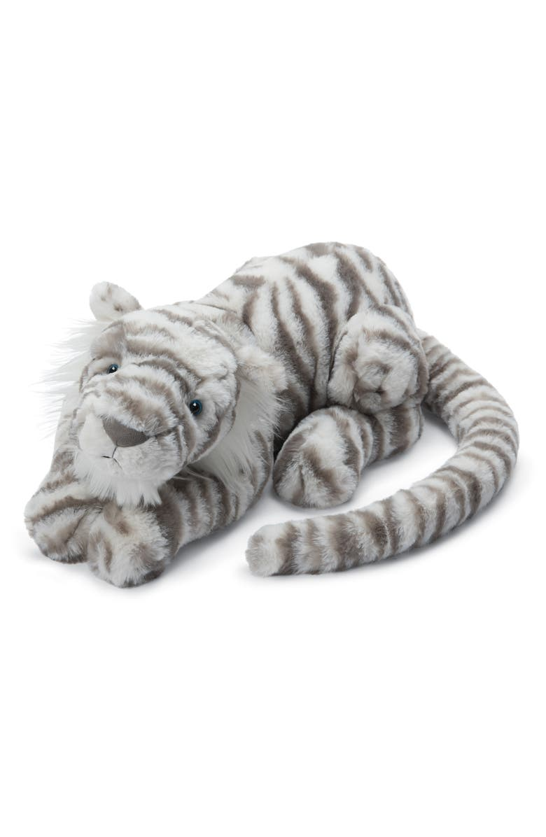 JELLYCAT Sacha Snow Tiger Stuffed Animal, Main, color, CREAM / GREY