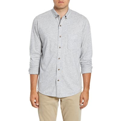Faherty Luxe Regular Fit Heathered Button-Down Knit Shirt, Grey