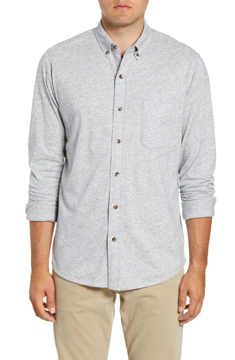 FAHERTY Luxe Regular Fit Heathered Button-Down Knit Shirt, Main, color, 050
