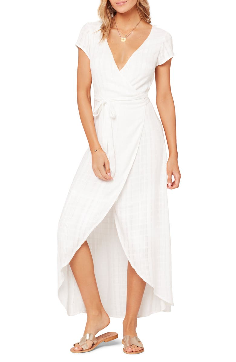 L SPACE Goa Cover-Up Maxi Wrap Dress, Main, color, WHITE
