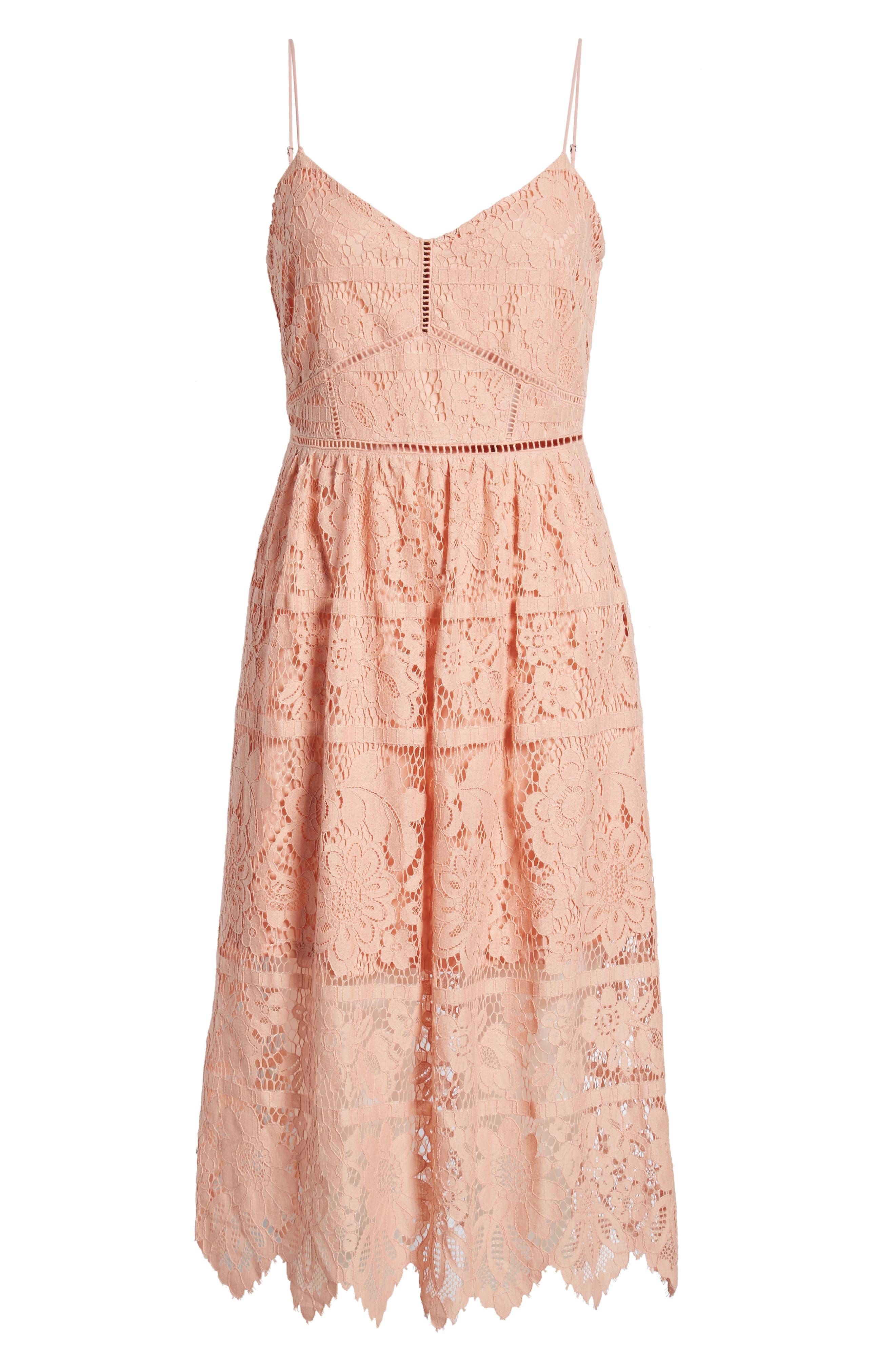 ,                             Cotton Blend Lace Midi Dress,                             Alternate thumbnail 7, color,                             PINK