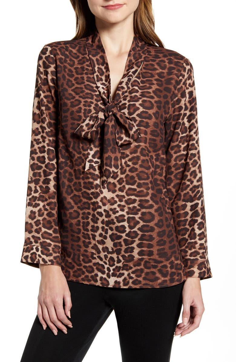 MING WANG Leopard Print Tie Neck Shirt, Main, color, COFFEE/ FRENCH VANILLA/ COGNAC