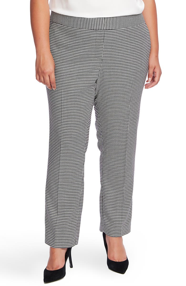 VINCE CAMUTO Houndstooth Ankle Pants, Main, color, RICH BLACK