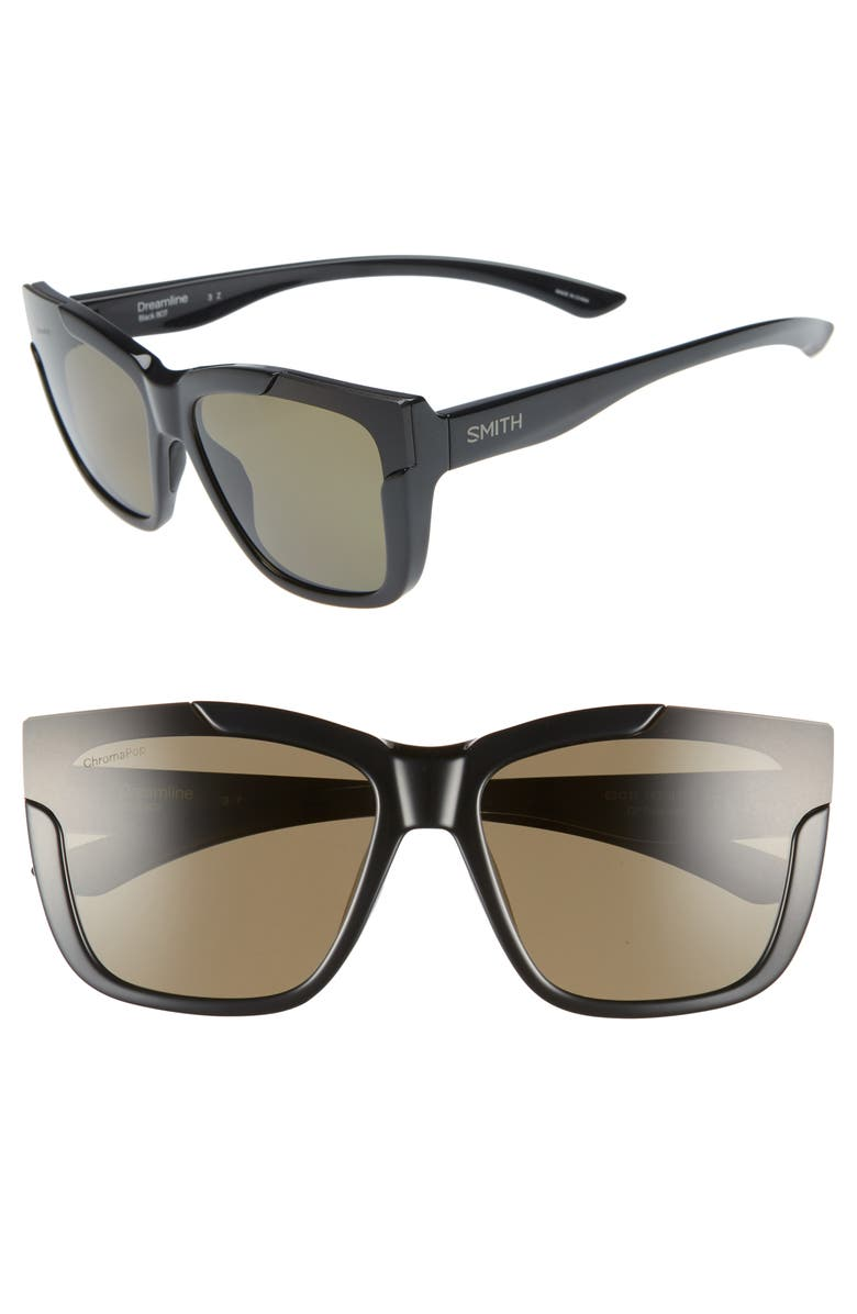 SMITH Dreamline 62mm Oversize Butterfly ChromaPop<sup>™</sup> Polarized Sunglasses, Main, color, BLACK