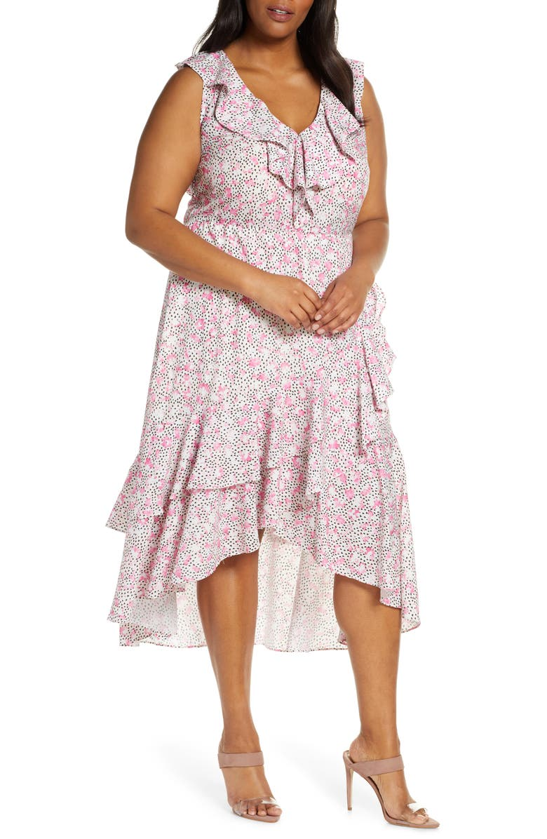 ELOQUII Ruffle Detail High Low Dress, Main, color, OH, SWEETPEA