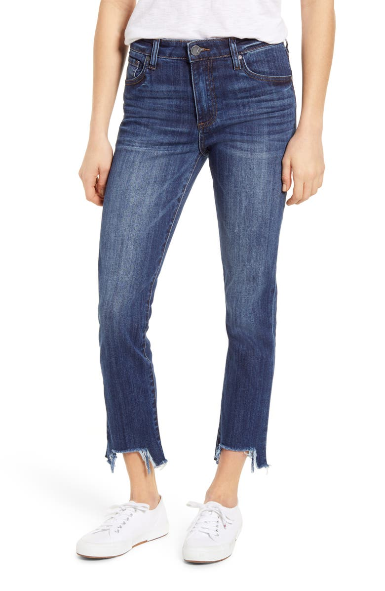 KUT FROM THE KLOTH Reese High Waist Frayed Step Hem Ankle Straight Leg Jeans, Main, color, 408