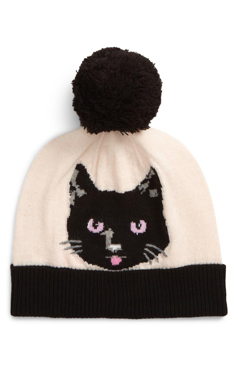 KATE SPADE NEW YORK cat noir intarsia beanie, Main, color, SOFT ROSE